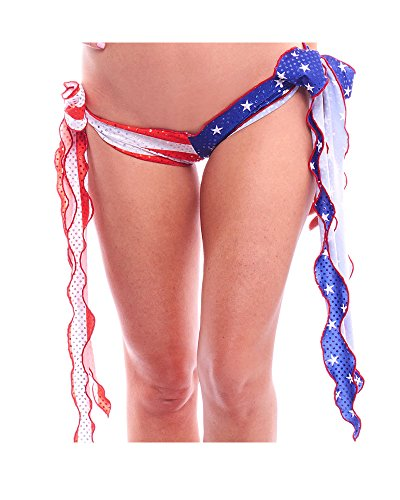 BodyZone Apparel Women's American Flag Print Ribbon Tie Shorts.