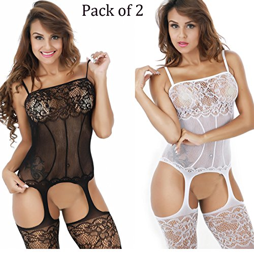 2-Pack Womens fishnet Sexy Lingerie Striped Open Crotch Bodysuits Suspenders bodystockings(Black/White)