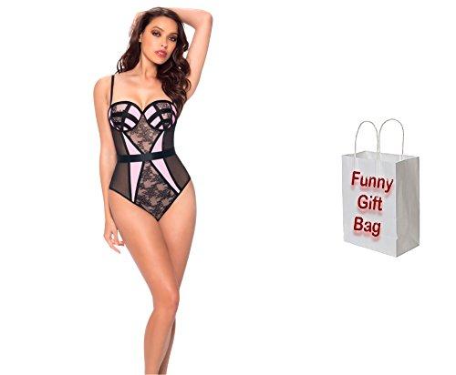 Bundle of Oh la la Cheri Molded Teddy Large Black/Pink with Giftbag Model 15