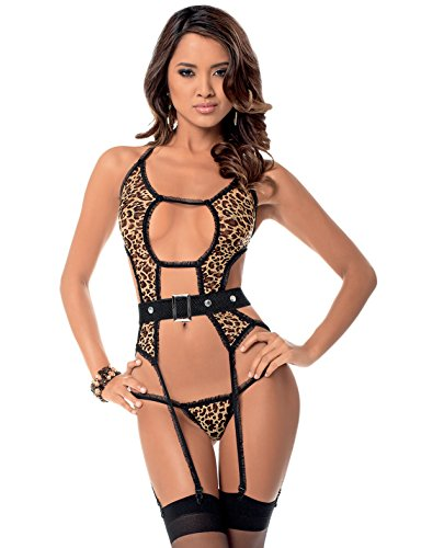 Escante Sexy Bustier w/Belt, Panty & Thigh Highs Leopard/Black – Size OS