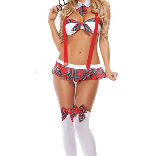 Corgy Women Sleeveless Student Plaid Uniform Cosplay Costume Sexy Lingerie Set