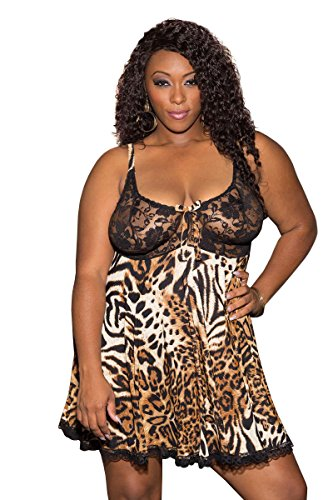 Sexy Plus Size Full Figure Exotic Leopard and Lace Soft Babydoll Lingerie