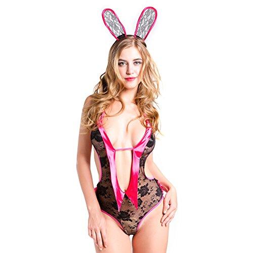 Utimi Women's Sexy Lingerie Bunny Girl Dress Backless Lace Sleepwear Exotic Babydoll One-piece Teddy Dress Nightwear, with Lace Rabbit Ears, Average Size