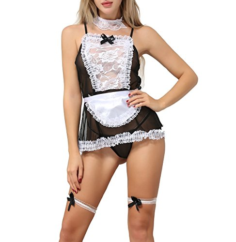 ANJAYLIA Sexy Maid Lingerie outfits Lovers Cosplay Erotic Bedroom Teddy Set (black)