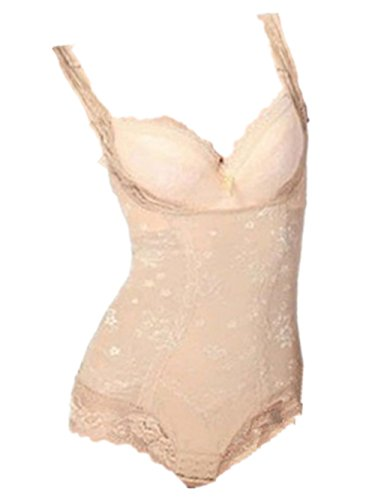 Womens Tummy Control Underbust Body Slimming Lace Shapewear Shaper Suit (XL ( US  L), Nude)