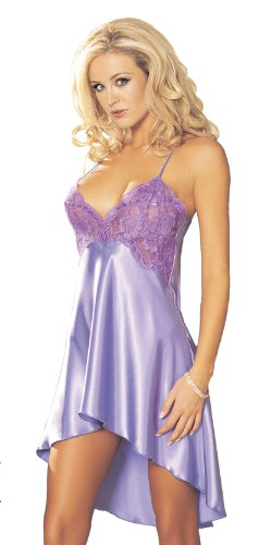 Shirley of Hollywood Women's Sexy Charmeuse Chemise, Violet, Large