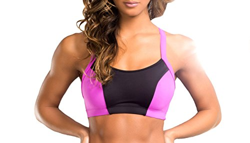 BodyZone Apparel Yoga & Fitness Daphne Two-Tone Top. Black/Fuchsia. Small/Medium. Made in the USA.