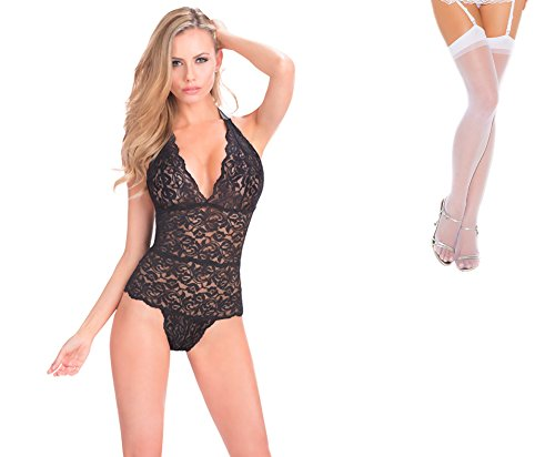 Bundle 2 Items: Oh la la cheri Halter Lace Teddy Snap Crotch Black O/S and Sheer Thigh M25W