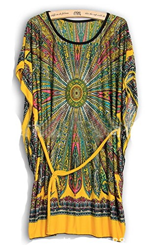 Summer Retro Vintage Bohemian Casual Dresses Women Plus Size Silk Dress (Yellow)