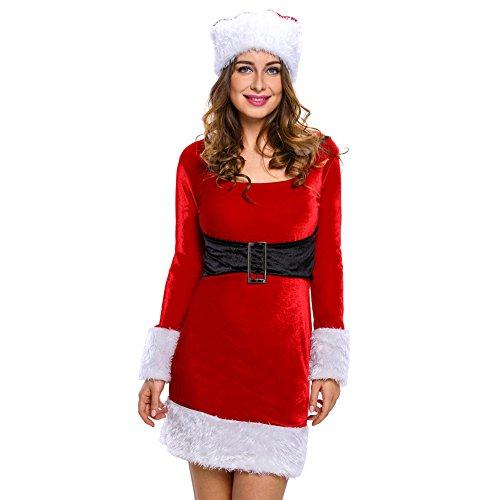 Papaya Wear Mrs Santa Helper Costume Christmas Long Sleeve Dress for Women