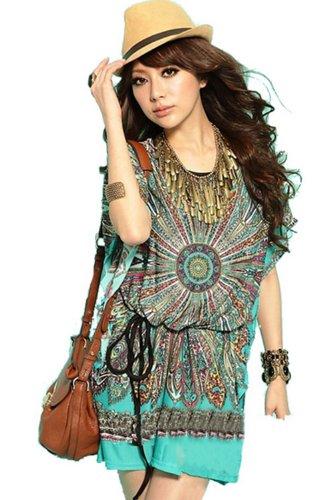 Summer Retro Vintage Bohemian Casual Dresses Women Plus Size Silk Dress (Green)