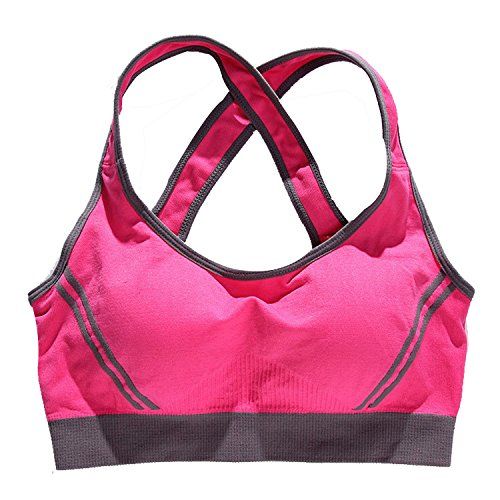 Sexy Womens Push Up Padded Sports Bra Running Aerobics Gym Dance Yoga Vest(Lable L rosy)