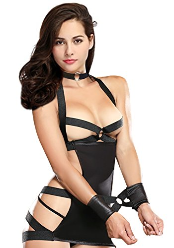 Black Cupless Erotic Lingerie Open Back Bondage Dress Leather
