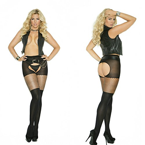Elegant Moments 1835Q Queen Plus Size Black Opaque Pantyhosewith Diamond Top 1X 2X 3X