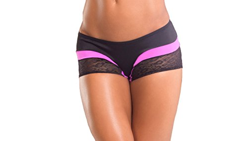 BodyZone Apparel Yoga & Fitness Rainbow Two-Tone Scrunch Back Short. Black/Fuchsia. Medium/Large. Made in the USA.