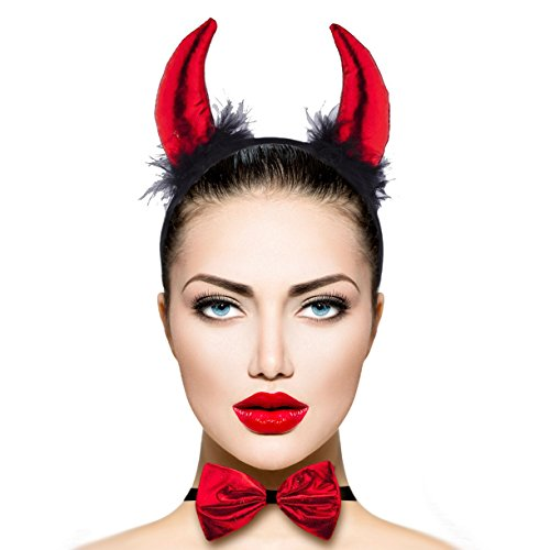 Lux Accessories Red Black Fuzzy Sexy Devil Halloween Costume Accessory Set 3PC