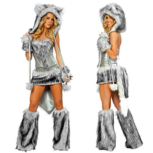 Ailisen 2017 New Sexy Wolf Girl Costume Halloween Furry Costumes For Women Animal Costume Cosplay