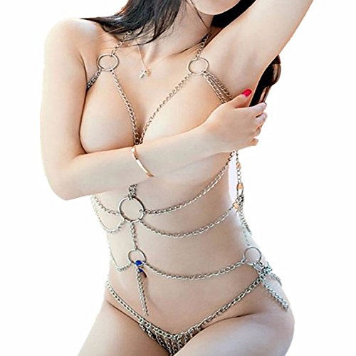 Enticing Women's Sexy Lingerie Chain Set Exotic Woman Breast Bra Bondage Metal Chain