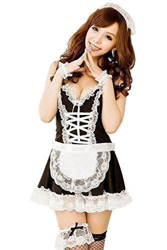 Women's Black White French Apron Maid Servant Lolita Costume Lingerie Dress Uniform
