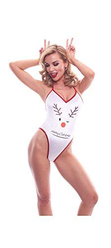 BodyZone Apparel Holiday Reindeer Print Exotic Teddie Lingerie.