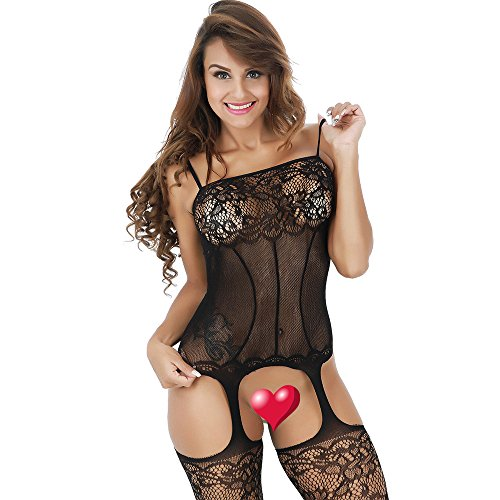 Women Lingerie Crotchless Bodystocking Sexy Open Stretch Bodysuit Fishnet Black