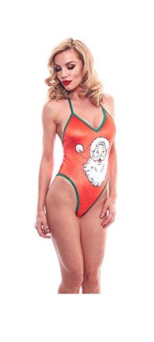 BodyZone Apparel Holiday Red Santa Print Exotic Teddie Lingerie.