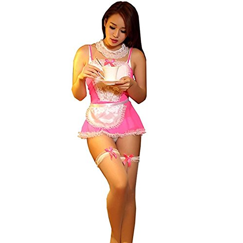 ANJAYLIA Sexy Maid Lingerie Outfits Lovers Cosplay Erotic Bedroom Costume Teddy Set(Pink)