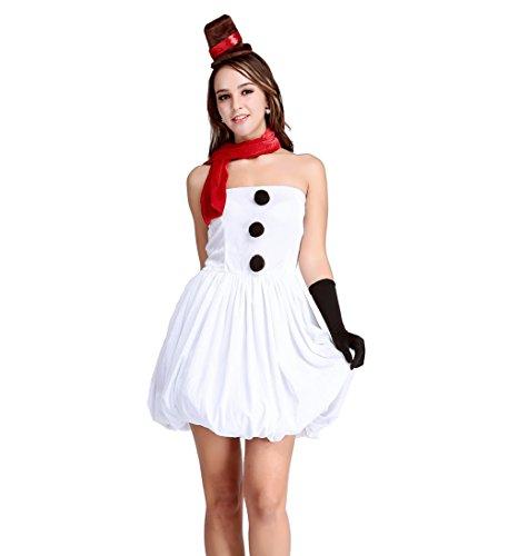 Papaya Wear Women's Snowman Romper Dress Cosplay Costume Mini Dress