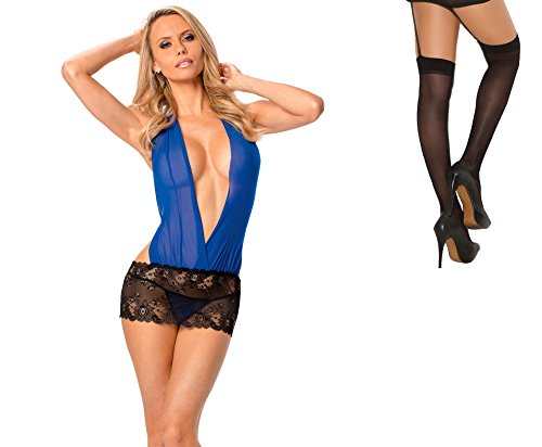 Bundle 2 Items: Escante Halter Deep V Chemise & Panty Royal/Black O/S and Sheer Thigh M25B