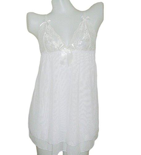 Xhilaration Papaya Wear Babydoll Open Back Lingerie Mesh Chemises (XL White)