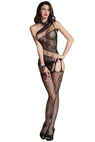 Romede Women Sexy Lingerie Fishnet Bodystocking Lace Striped Crotchless Bodysuit
