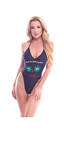 BodyZone Apparel Women's Love Collection Marijuana Valentine Print Lingerie Teddie.