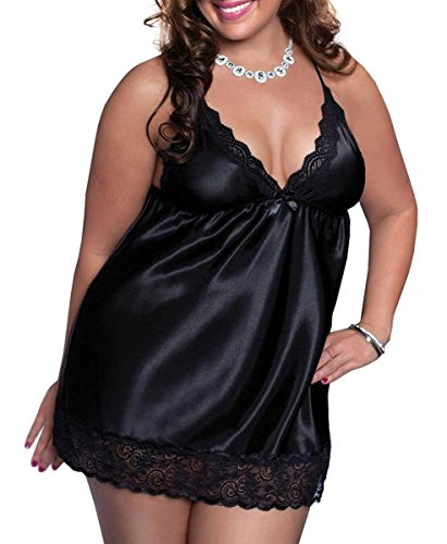 Moonight Sexy Plus Size Babydoll Lingerie Set Satin Sleepwear G-string (2XL, Black)