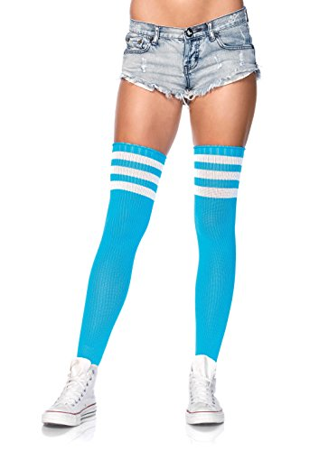 Leg Avenue Women's Athlete Thigh Hi with 3 Stripe Top, Neon Blue, O/S