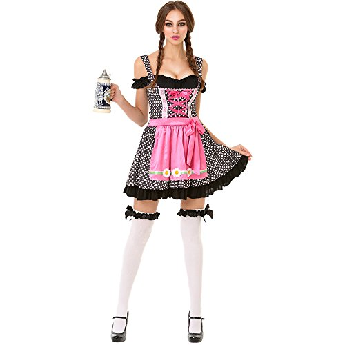 Oktoberfest Beer Maid Women's Halloween Costume Sexy Bar Maid Lederhosen Dress