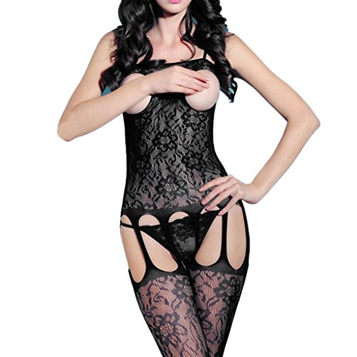 Hmlai Womens Sexy Black Lace Sheer Crotchless Fishnet Bodystocking Lingerie Bodysuit Pantyhose