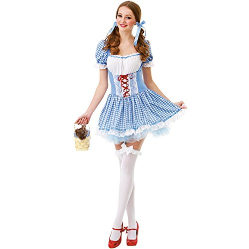 Kansas Belle Women's Halloween Costume Sexy Dorothy of Oz Blue Checkered Dress Medium