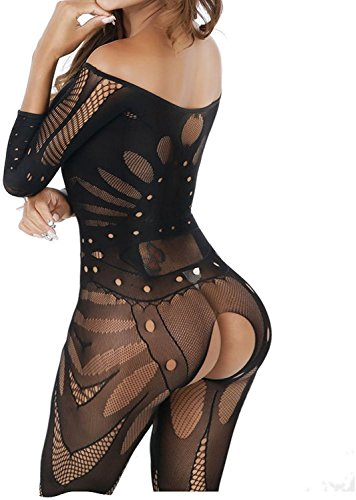 Woopower Lingerie Bodystockings, Crotchless Bodysuit Sheer Black Uniforms Temptation Stockings, As Women Night Sexy Underwear One Size