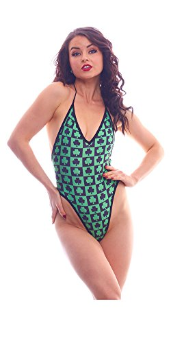 BodyZone Apparel Women's Lucky Collection Checkered Shamrocks Print Lingerie Teddie.