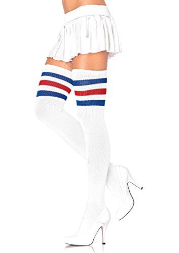 Leg Avenue Women's Athlete Thigh Hi with 3 Stripe Top, Red/White/Blue, One Size