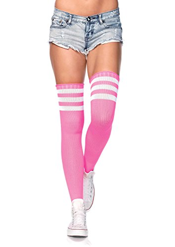 Leg Avenue Women's Athlete Thigh-highs Stockings with 3-Stripe Top, Neon Pink, One Size