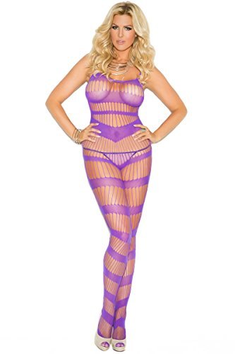 Elegant Moments Queen Size Open Crotch Suspender Bodystocking – Purple – Queen Size