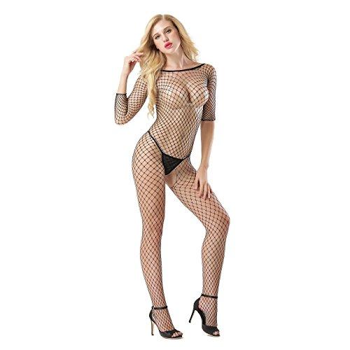 LesTT Sexy Erotic Bodystocking, Long Sleeved Fence Crochet Fishnet Lingerie Crotchless Bodysuit Babydoll For Women For Sex