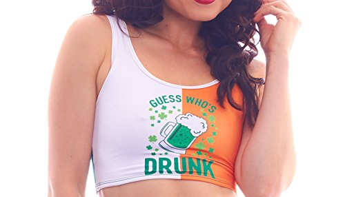 BodyZone Apparel Women's Lucky Collection Drunk Print Crop Top.