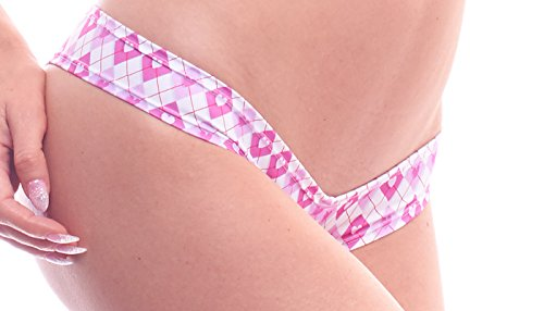 BodyZone Apparel Women's Love Collection Argyle hearts Print Scrunch Back Super Micro Boy Shorts.