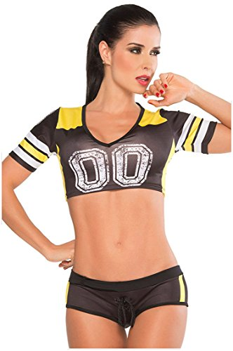Prettywell Womens Sexy Football Short Sleeve Shirt Sets Stage Uniform 8891 (Black)