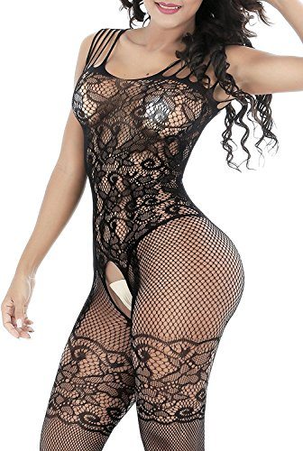 DivaCat Fishnet Bodystocking Sexy Lingerie Babydoll Crotchless Teddy Nightie Bodysuit Plus Size For Women Black (One Size, Black 004 Floral Print Plus Size)