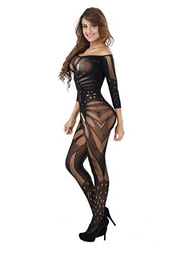 DivaCat Fishnet Bodystocking Sexy Lingerie Babydoll Crotchless Teddy Nightie Bodysuit Plus Size For Women Black, One Size