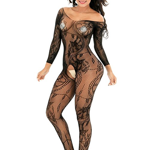 DivaCat Fishnet Bodystocking Sexy Lingerie Babydoll Crotchless Teddy Nightie Bodysuit Plus Size for Women Black (One Size, Black Swirl)
