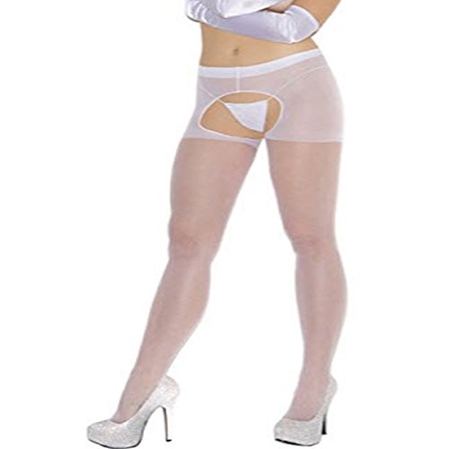 Lot 2 sheer plus size crotchless pantyhose Open-crotch 1726 1726Q White, Queen Plus Size